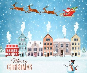 Christmas fairy tale with city street winter vectors 04
