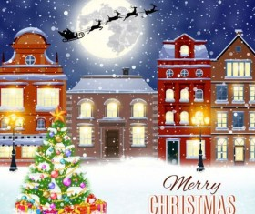 Christmas fairy tale with city street winter vectors 08