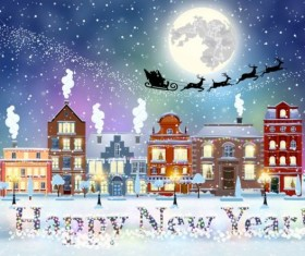 Christmas fairy tale with city street winter vectors 12