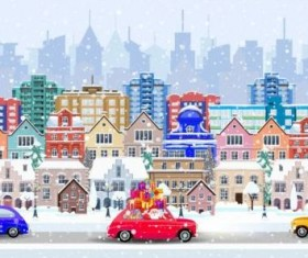 Christmas fairy tale with city street winter vectors 13