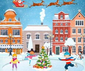 Christmas fairy tale with city street winter vectors 15