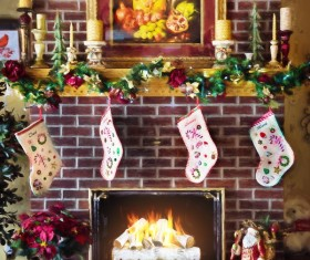 Christmas fireplaces Stock Photo