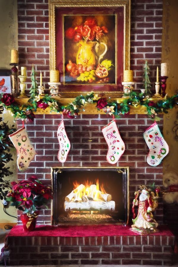 Christmas fireplaces Stock Photo