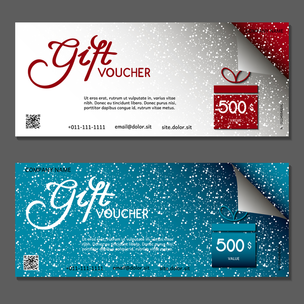 Christmas gift box with vouchers vector 01