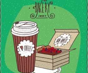 Coffee in paper cup and berry pie in carton box vector