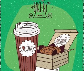 Coffee in paper cup and cake in carton box vector