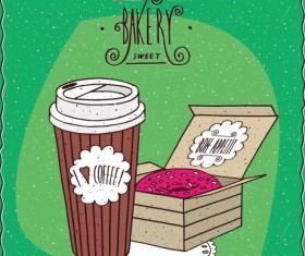 Coffee in paper cup and donut with pink icing vector
