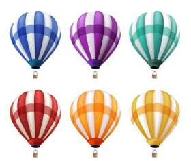 Colored air balloon vectors set 01