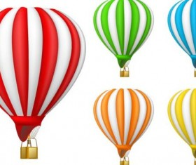 Colored air balloon vectors set 02