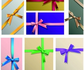 Colored bow with gift card vectors template