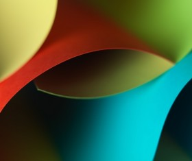 Colorful origami pattern made of curved sheets of paper 02
