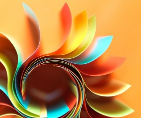 Colorful origami pattern made of curved sheets of paper 04