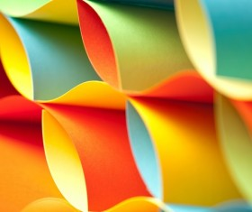 Colorful origami pattern made of curved sheets of paper 05