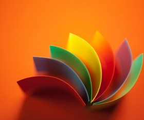 Colorful origami pattern made of curved sheets of paper 11