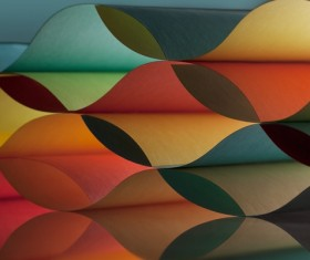 Colorful origami pattern made of curved sheets of paper 14