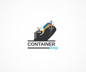Container ship logo design vector