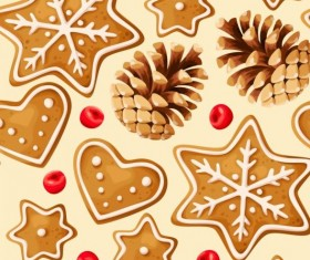 Cookies with pine cones seamless pattern vector 01