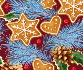 Cookies with pine cones seamless pattern vector 02