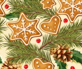 Cookies with pine cones seamless pattern vector 03