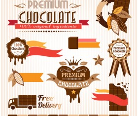 Creative chocolate logo with labels vector 01