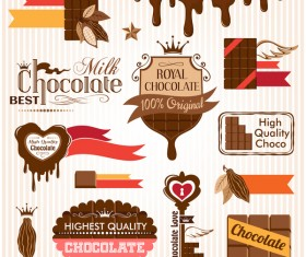 Creative chocolate logo with labels vector 02