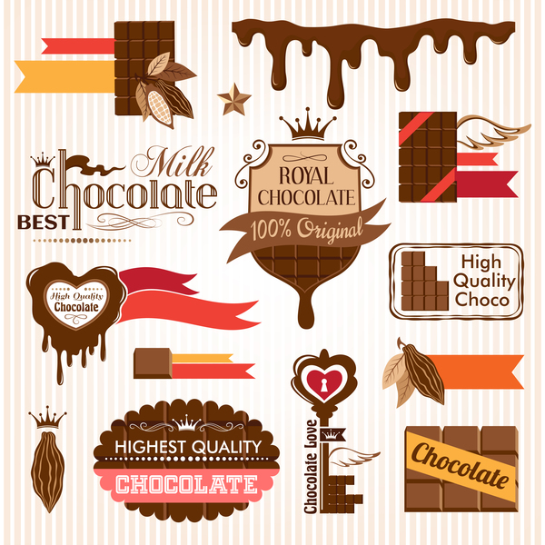 creative chocolate logo with labels vector 02 free download