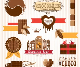 Creative chocolate logo with labels vector 03