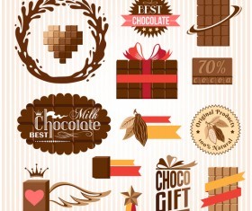 Creative chocolate logo with labels vector 05