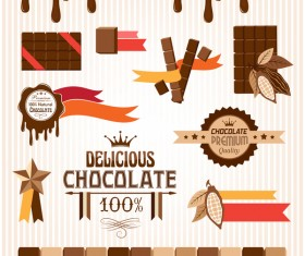 Creative chocolate logo with labels vector 06