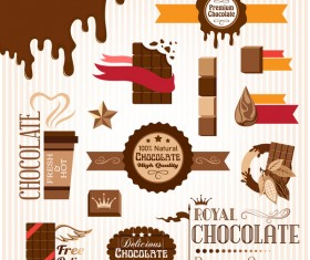 Creative chocolate logo with labels vector 07
