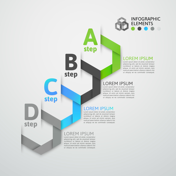 Creative origami infographic template vector 07