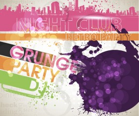 Creative party background with grunge vector 03