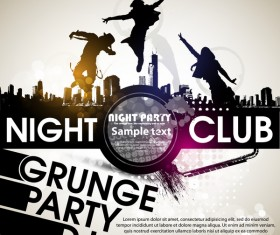 Creative party background with grunge vector 04