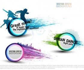 Creative party background with grunge vector 07