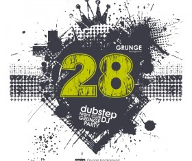 Creative party background with grunge vector 11