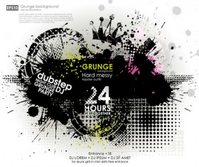 Creative party background with grunge vector 12