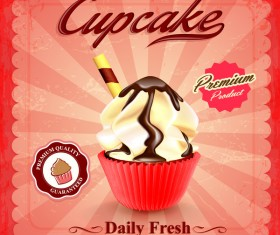 Cupcake poster template retro styles vector 01