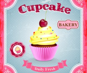 Cupcake poster template retro styles vector 02