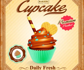 Cupcake poster template retro styles vector 03