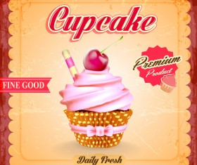 Cupcake poster template retro styles vector 04