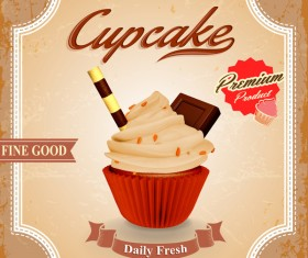 Cupcake poster template retro styles vector 05