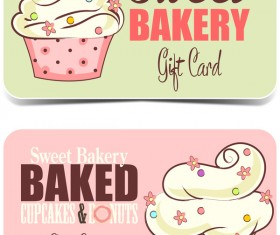 Cupcake sweet bakery card vector 02