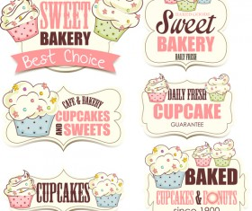 Cupcake sweet bakery labels vector material