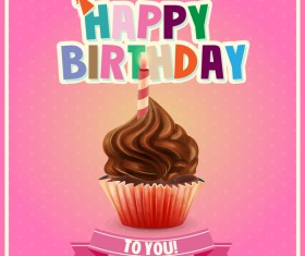 Cupcake with happy birthday pink card vector
