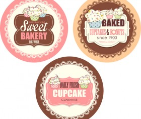 Cupcake with sweet bakery badge vector