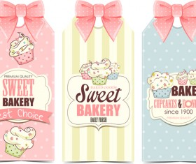 Cupcake with sweet bakery bow card vector