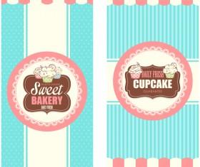 Sweet bakery vertical cards vector