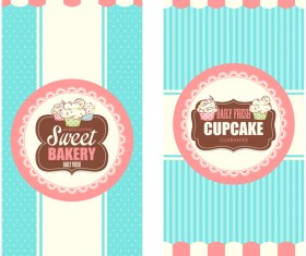 Cupcake with sweet bakery vertical cards vector