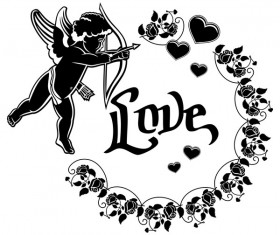 Cupid with valentine decorative silhouettes vector 04
