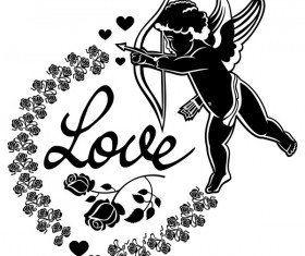 Cupid with valentine decorative silhouettes vector 05